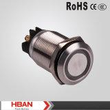 Interruptor de pulsador azul del metal de la alta calidad 19m m 24V LED