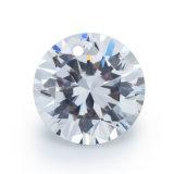 Forme ronde blanche Zircon cubique en pierres précieuses avec trou