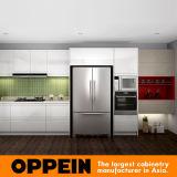 Alta lacca bianca moderna di lucentezza ed armadio da cucina grigio-chiaro della melammina (OP16-L08)