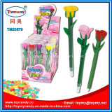 キャンデーが付いている新しくおかしいプラスチックローズの花のペンのおもちゃ