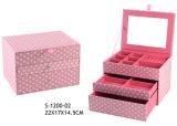 かわいいデザインピンクの点ファブリック宝石箱