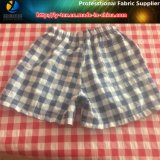 Poliéster / nylon hilado teñido de la arruga Compruebe tela para ropa de playa Niños (YD1122-RED)