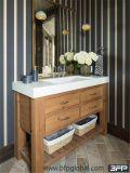 Vanité de salle de bains en bois solide de type de cru petites avec le bassin d'Undermount