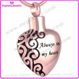 collar pendiente de la cremación del collar de la cremación del corazón del acero inoxidable 316L (siempre en mi corazón)