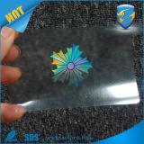 Изготовленный на заказ прозрачный Hologram Overlay для карточек/стикера Hologram подлиности любимчика слипчивого