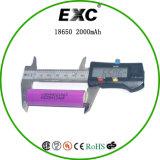 Bateria do íon de Li da bateria recarregável de Icr18650 2000mAh 3.7V