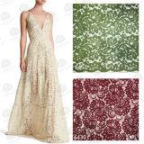 Tela de nylon do laço do algodão de Raschel do vestido da tela do casamento