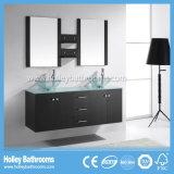 Grand double Module de salle de bains en verre transparent de bassin de l'espace de stockage à haute brillance de peinture (BF117D)