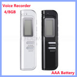 다기능 Portable Mini AAA에 의하여 건전지 강화되는 4GB 8GB Digital Voice Recorder