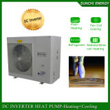 O quarto 12kw/19kw/35kw do medidor do assoalho Heating100~300sq do inverno da tecnologia -25c de Evi Auto-Degela calefator de água rachado do condensador da bomba de calor de 2 toneladas