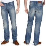 2016 calças de brim retas ocasionais da sarja de Nimes do estiramento do algodão do pé do Mens da forma