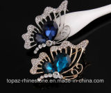 Pin cristalino de la broche de los Rhinestones de Austria de la broche de la mariposa de Montana (mariposa TB-022)