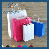 白いクラフトの買物袋のWithtwistのペーパーハンドル(DM-GPBB-051)