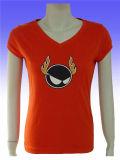 T-shirt court rouge de polyester de mode/de douille femmes de coton