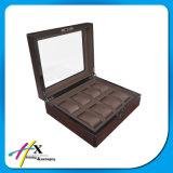 Schokoladenbrauner Großhandelsuhr-Ablagekasten der qualitäts-Weinlese-8 mit Fenster