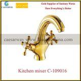 Goldener Quergriff-gesundheitlicher Ware-Küche-Hahn