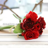Fleur artificielle Wedding décorative colorée de bouquet de Rose (SF14651)