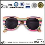 Óculos de sol redondos de bambu coloridos do arco-íris do skate