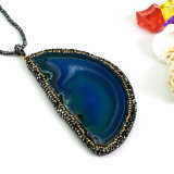 Fashion Jewelry Necklace를 위한 마노 Slice Pendant Gemstone Drusy