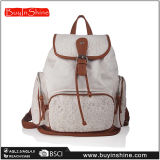 Recortar mochila bolsa de lona blanca del cordón