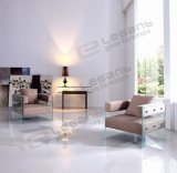 sofà di vetro Tempered di spessore di 15mm con la sede molle del tessuto