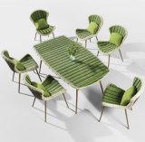고정되는 옥외 식탁 고정되는 등나무 식탁 세트가 SGS&TUV에 의하여 6명의 사람들 정원 테이블 증명서를 줬다