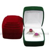 Caja de empaquetado de la joyería del anillo doble del terciopelo del diseño de la manera de la fábrica