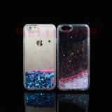 Caixa transparente do telefone do Quicksand líquido por atacado do Glitter do petróleo para iPhone5/6/6plus