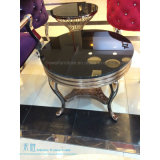 ローズ金金属フレームの円形のガラスコーヒーテーブル(HW-0860T)