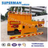 40f 3 Aanhangwagen van de Vrachtwagen van het Nut van de As Flatbed met Kraan voor Op zwaar werk berekend