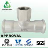 Inox de bonne qualité mettant d'aplomb l'acier inoxydable sanitaire 304 316 dérivations en té convenables de pipe de presse