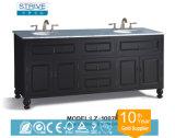 Double lavabo en bois de chêne Armoires de salle de bain suspendue / Vanité de salle de bain flottante