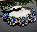 Bijou de collier de foulard de collier de Rhinestone de fleur de mode
