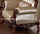 Salón Sofá / Madera Sofá / sofá de estilo europeo / clásico Sofá / Media-sofá de cuero Sq005