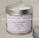 Vela perfumada decorativa de la soja de la Navidad en estaño hermoso