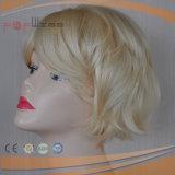 Preiswertes kurzes blondes Menschenhaar-volle maschinell hergestellte Perücke