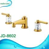 Robinet de lavabo à trois trous plaqué or avec poignée en marbre