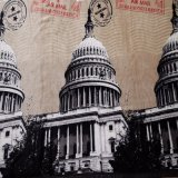 La coperta molle del panno morbido della flanella della Casa Bianca di stampa di disegno sul sofà o sulla base