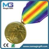 熱い販売によってカスタマイズされる星の金属メダル