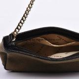 Sacchetto di spalla elegante della catena del metallo della tela di canapa con il testo fisso del cuoio genuino