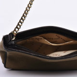 Sacchetto di spalla elegante della catena del metallo della tela di canapa del sacchetto di Crossbody con il testo fisso del cuoio genuino