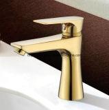 Mezclador y grifo 69111-1 del lavabo de la maneta de la carrocería de cobre amarillo de Oudinuo solos
