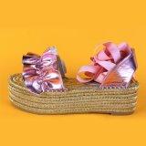 Alpargatas españolas auténticas de la plataforma del diseñador de la PU del color de rosa brillante hecho a mano de las mujeres