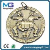 旧式な銀が付いているカスタマイズされた金属の学校のスポーツメダルは終わった