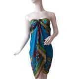 Платье пляжа шарфа полиэфира напечатанное сатинировкой шифоновое