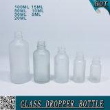Botella cosmética del cuentagotas del suero del vidrio helado con el casquillo y la pipeta de la prueba del niño