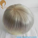 Haar-Stücke der unaufdeckbaren natürlichen indischen Remy weißes Haar-Männer