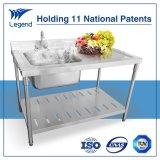Fábrica de fornecimento de aço inoxidável mesa de trabalho com pia