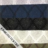 Bella riga tessuto di nylon del merletto del cotone blu-chiaro di disegno
