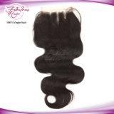 Fechamento brasileiro do laço do cabelo 4 x 4 da onda do corpo de Midpart do preço de grosso